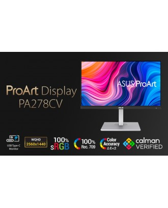 ASUS ProArt Display PA278CV Professional Monitor 27-inch, IPS, WQHD (2560 x 1440), 100% sRGB USB-C