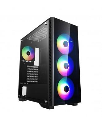 Deepcool MATREXX 50 ADD-RGB 4F ( Support ATX MB / USB 3.0 / Tempered Glass / Included ARGB Fan x 4)